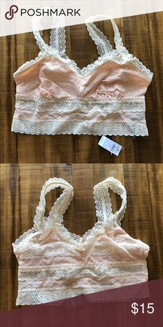 Aerie Longline Bralette NWT Pretty lace longline bralette from Aerie. New with tags in a pale, pretty peachy color. aerie Intimates & Sleepwear Bras
