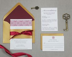 Sian Wedding Invitation Suite - Marsala and Gold.  Inspired by Pantone's color of the year #marsala