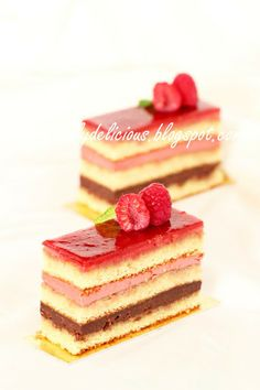 dailydelicious: Framboisée: Jewel on your plate. French Desserts, Mini Desserts, Sweet Recipes, Cake Recipes, Dessert Recipes, Opera Cake, Shortcake Recipe, Individual Desserts, Sweets Cake