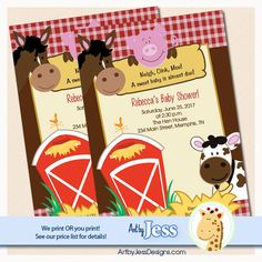 Farm Horse, Pig, Barn, and Cow Baby Shower Invitation Print your Own or Printed Barn Baby Shower Invitations
