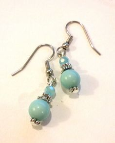 Aquamarine blue/green earrings by TheLoveOfEarrings on Etsy