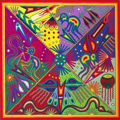 Huichol yarn painting.