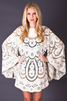 70s Vintage Bohemian Angel Sleeve Tunic in Cream by TelltaleHearts, $195.00