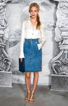 Poppy wearing elegant classics at the Haute Couture shows, Photo by Getty Images