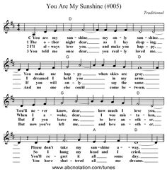You Are My Sunshine (#005) - staff notation