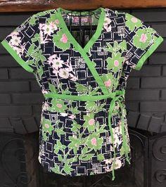6b0289a302c Koi Nursing Scrub Top Navy Lime Green Pink Print Women's size Small
