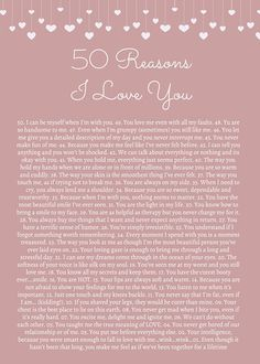 50 Reasons Why I Love You Print  Customized Printable Poster