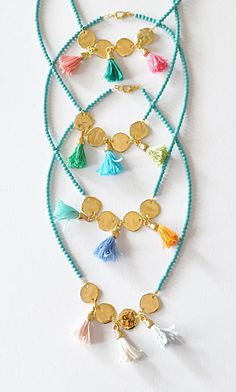 Gold Tassel Necklace Turquoise Necklace by stellacreations