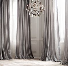 Light for entryway: Long drapes are elegant but probably not our style? Silk Taffeta Pavilion Stripe Drapery with zinc furnishings?? *drool*
