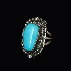 SIGNED Vintage #NativeAmerican #TURQUOISERing Sleeping Beauty Sterling Silver Large 11.5 Grams Size 6.5 Hallmarked c.1970s