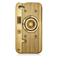 bamboo camera gold iphone case wood