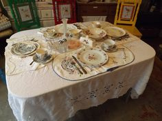 There is an old table in my vintage shop. I set a cut work tablecloth, hand embroidered place mats and napkins, and vintage dishware on it. It made the whole shop look beautiful! Vintage Dishware, Cut Work, Place Mats, Vintage Shops, Napkins, Table Settings, China, Glass, Silver