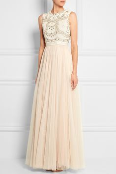Needle & Thread|Sequin-embellished crepe and tulle gown|NET-A-PORTER.COM