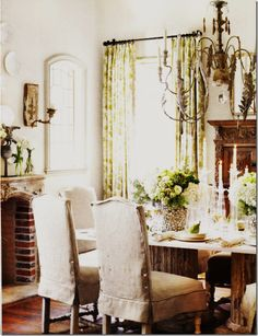 dining room curtain and linen slipcovers