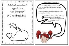 """Back to school activities: """"We had a whale of a wonderful summer!"""" Class-made book.  Each student writes why in the whale-shaped speech bubble.  Packet includes 5 cover options suitable for the beginning and end of they year. Plus 5 inside pages with cute black line """"color me"""" kid's faces, or students can add a photo or draw a self-portrait on the blank template that only includes the speech bubble."""
