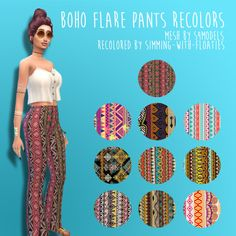 simming-with-floaties:  Boho Flare Pants Recolors (TS4) I made my first recolors you guys! So proud of myself tbh ;) They're not perfect but they're pretty darn good!   (∪ ◡ ∪)   I am totally inspired by the new movie pack and all of it's Bohemian style things, so I hope to recolor some more clothing just like this ^^  You need to download the MESH by @s4models ~ D O W N L O A D ~ Please like and reblog if you download, and I'd love to see your outfits using these pants so tag me!   ∧( 'Θ'…