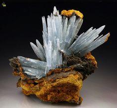 Barite crystals on Limonite matrix - Morocco