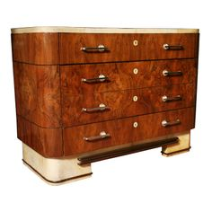 Art Deco  Wood, Parchment and Chrome Glass-top Commode | From a unique collection of antique and modern commodes and chests of drawers at http://www.1stdibs.com/furniture/storage-case-pieces/commodes-chests-of-drawers/