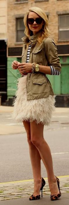 White feather Skirt and army jacket. Not something I would wear personally but I love it none the less. So fun and flirty.
