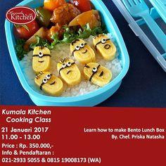 Learn how to make Bento Lunch Box (Belajar membuat Bento Lunch Box)  Ingin belajar bagaimana membuat Bento Lunch Box yang sehat, enak, nikmat dan lucu?  Bento Lunch Box bisa dibuat untuk bekal anak sekolah dan lunch box untuk dibawa ke kantor. Untuk yang punya bisnis catering, Anda bisa memakai ilmu yang Anda dapet untuk membuat bentuk-bentuk yang lucu di catering box Anda.  Yuk join di Cooking Class Kumala in the Kitchen ini, Chef Priska Natasha,  seorang spesialis homemade food, akan…