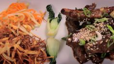 Hot and sticky Essex pork ribs with bok choi, straw potatoes and apple slaw.  View full recipe here: http://skywidgets.co.uk/mykitchenrules/#6