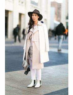 Julia Lang wears Three Floor jacket, Mango dress, and Zara top, trousers, boots and bag.