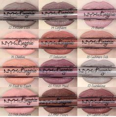 Nyx Lip Lingerie liquid lipsticks worn by swatches on paler skin Pretty Makeup, Love Makeup, Makeup Inspo, Beauty Makeup, Makeup Swatches, Drugstore Makeup, Nyx Lip Lingerie Swatches, Nyx Lipstick Swatches, Nyx Dupes