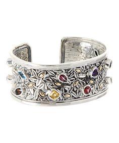 Sterling Silver & Gold Gemstone Cuff