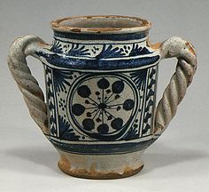 Vase  Date: late 15th century Culture: Italian (Florence) Medium: Maiolica (tin-enameled earthenware) Dimensions: Overall (confirmed): 7 1/2 x 9 1/2 x 6 in. (19.1 x 24.1 x 15.2 cm)