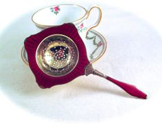 Valentines Gifts For Her ---Say it With Rubies by Susan on Etsy Tea Strainer, Tea Infuser, Gold Wash, Valentines Gifts For Her, Tea Caddy, Deep Red Color, Enamel Jewelry, Vintage Vogue, Rare Antique
