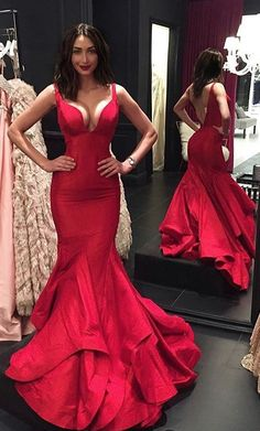 2017 Red Mermaid Prom Dress,red mermaid Evening Dresses,V neck open back  prom dresses,formal gown with layered skirt