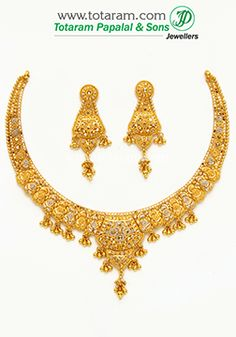 22K Gold Necklace Sets Indian gold jewelry Gold necklaces and