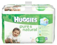 Huggies Pure & Natural Diapers, Size 4, 60 Count (Pack of 2) (Packaging May Vary) | Multi City Health  List Price: $50.16 Discount: $10.62 Sale Price: $39.54