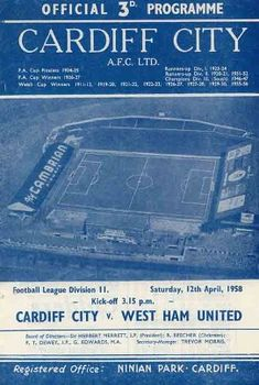 Cardiff City 3 Liverpool 2 Aug 1959 at Ninian Park. The programme cover for the Division clash on the opening day of the season. Cardiff City Football, Cardiff City Fc, United Games, Rotherham United, Doncaster Rovers, Clash On, Bristol Rovers, Charlton Athletic, Huddersfield Town