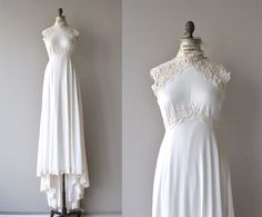 Grand Palais wedding gown | vintage 1970s wedding dress | empire lace 70s wedding gown
