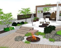 Low maintenance yard idea - Anime Line Pergola Garden, Terrace Garden, Garden Beds, Backyard Landscaping, Home And Garden, Diy Pergola, Landscaping Ideas, Modern Garden Design, Terrace Design
