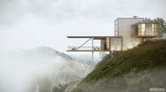 90 Breathtaking Cliff House Architecture Design and Concept Cantilever Architecture, Modern Architecture Design, House Architecture, Cliff House, House On A Hill, Georgian Terrace, 3d Visualization, Cabana, Beautiful Homes
