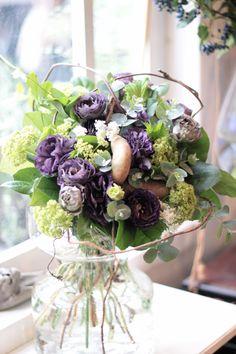 トルコキキョウ/あけび/ブーケ/花束/花どうらく/花屋/http://www.hanadouraku.com/bouquet
