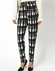 Image 4 of ASOS Peg Pants in Plaid  Check Print