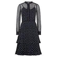 Buy Hobbs Lily Spot Silk Dress, Navy/Ivory Online at johnlewis.com
