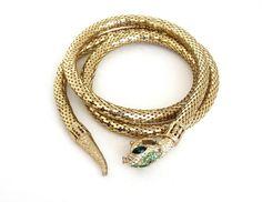 Vintage SNAKE Belt Whiting & Davis Gold Mesh Coil w Green Rhinestones CLEOPATRA Egyptian Revival Etruscan