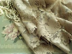 """Lace Beige Curtain Valance, 62"""" wide, Made in the USA, Netted Filet Lace Curtain Panel, Lace Valance, by mailordervintage on etsy Yellow Lace, Vintage Yellow, French Vintage, Lace Valances, Lace Curtain Panels, Beige Curtains, Vintage Curtains, Romantic Shabby Chic, Antique Paint"""