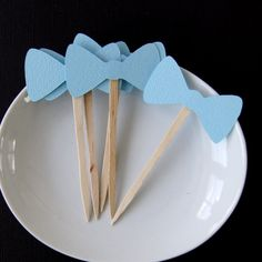 12 Bow Tie Party Picks, Cupcake Toppers or Skewers for Gender Reveal or Little Man Party on Etsy, $3.00