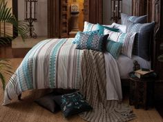 KAS Bedding and Cushions - Danya Teal Double Quilt Set - A textured and patterned stripe design with intricate embroidery details. The elegant lines paired with complex geometry are reminiscent of handicrafts from Casbah. Bedroom Bed, Home Decor Bedroom, Room Decor, Bedrooms, Bedroom Ideas, Bedroom Stuff, Bedroom Retreat, Master Bedroom, Condo Decorating
