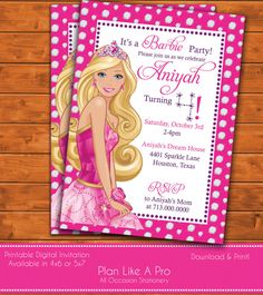 Barbie Invitation Barbie Birthday by PlanLikeAPro on Etsy