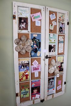 Cork is added to salvaged window frames for an oh-so-decorative bulletin board