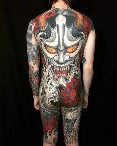 Hannya Mask backpiece by @joseph_pineda at Immovable Tattoo in Bossier City, LA #josephpineda #immovabletattoo #bossiercity #louisiana #backpiecetattoo #backpiece #hannyamask #hannyamasktattoo #peony...