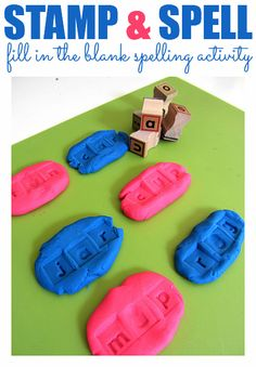 Use letter stamps and play dough to work on creating words and spelling. (No Time for Flash Cards)