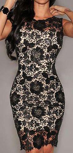 Black lace dress with cream underlay lining // sexy