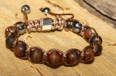 Bracelet  shamballa brun pour homme pierre de Gemmes Agate brune
